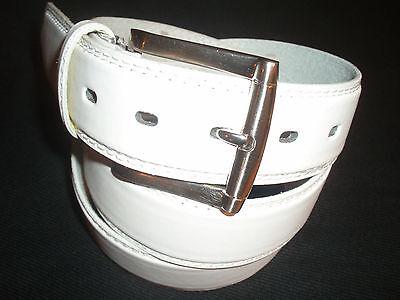 ( Men's Genuine White Leather Belt 11/2