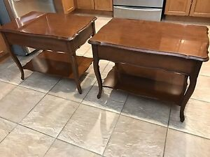 Two Polished wooden end tables