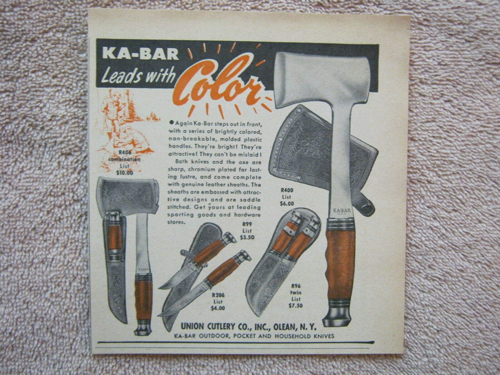 Vintage 1949 Union Cutlery Ka-Bar Ax Axe Knife Knives Leads with Color Print Ad