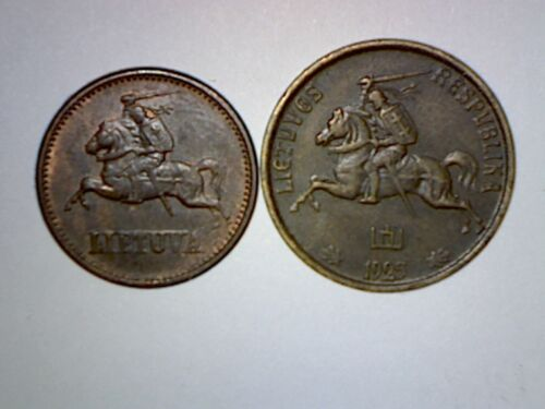 VINTAGE TYPE SET OF LITHUANIA COINS 1925+1936   8 COINS  4 ARE SILVER