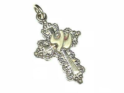 Cute .925 Sterling Silver Bird on Jesus Christ Cross Pendant - Signed Avanti