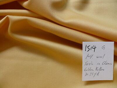 "BRUNSCHWIG & FILS 100% WOOL SATIN IN CHAMOIS GOLDEN YELLOW 60""W (#1514)"