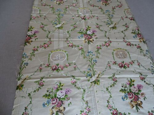 "Antique French Ivory Floral Silk Brocade Textiles Fabric  26"" x 35 """