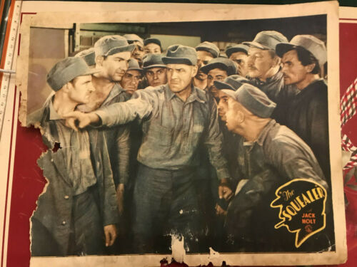 """The Squealer 1930 Columbia 11x14"""" crime lobby card Jack Holt prison inmates"""