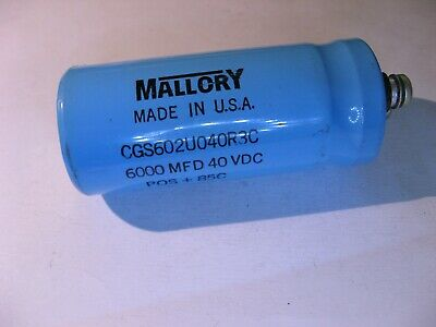 Electrolytic Capacitor 6000uf Mfd 40vdc 85c Mallory Cgs602u040r3c - Used Qty 1