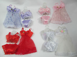 BARBIE-DOLLS-CLOTHING-LACE-LINGERIE-UNDERWEAR-BRA-KNICKERS-BABYDOLL-4-PIECE-SET
