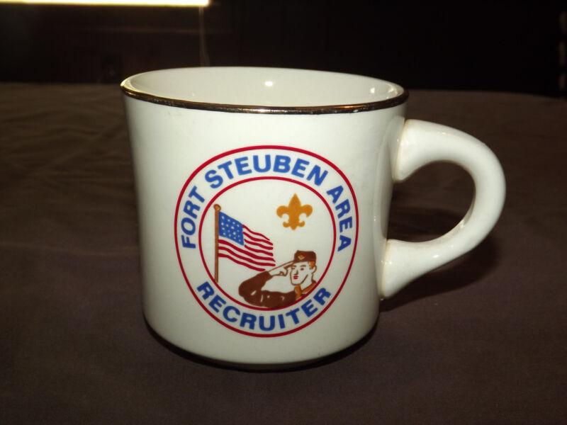 VINTAGE BSA BOY SCOUTS  COFFEE MUG FORT STEUBEN AREA RECRUITER