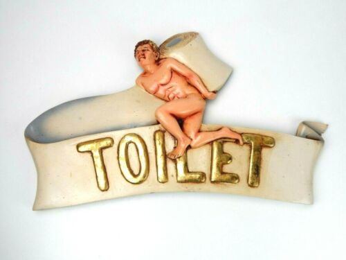 Vtg Wall Mounted Toilet Plaque Sign Naked Greek Man w/ Toilet Paper ~ Man Cave