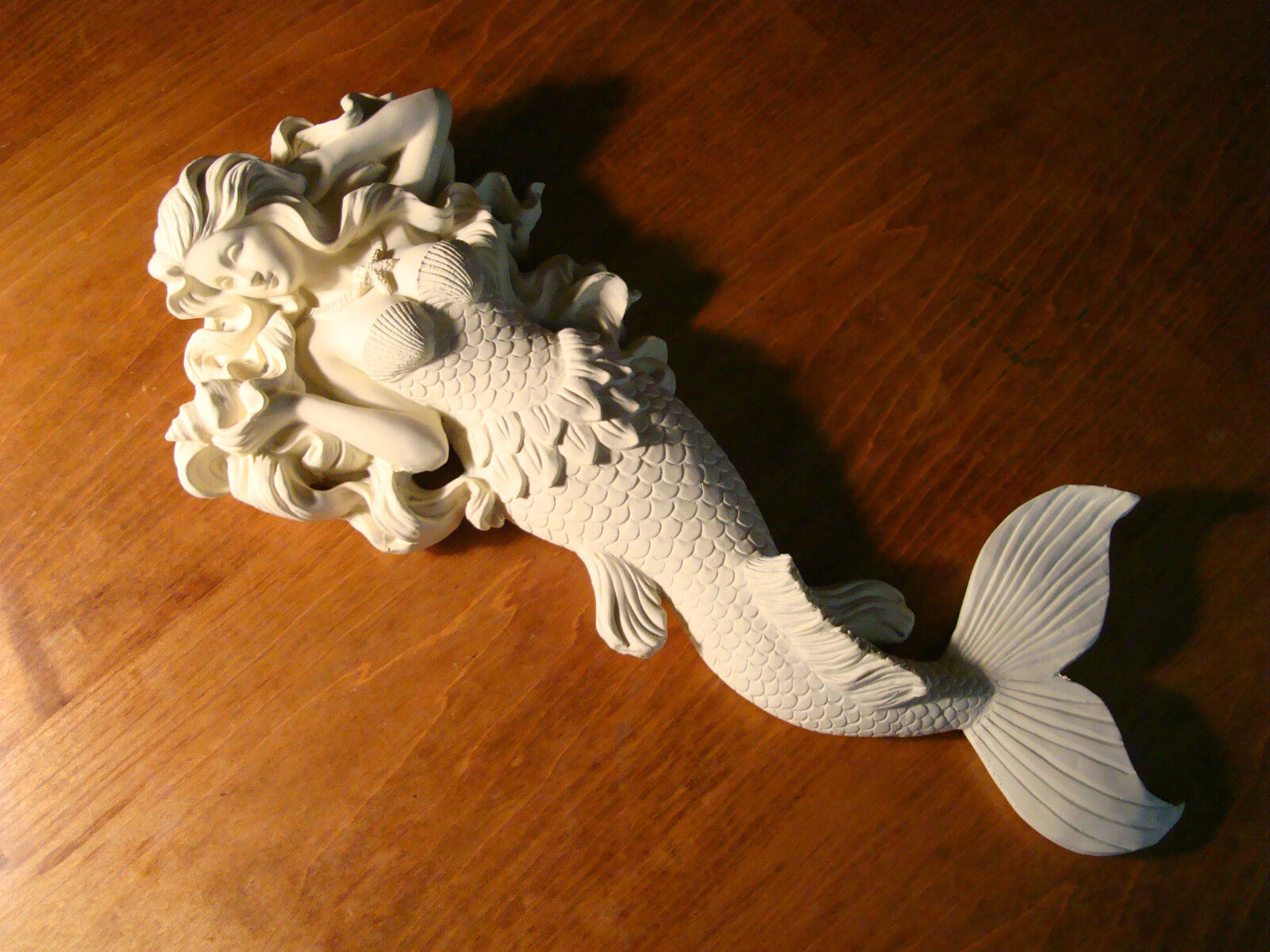 Large Starfish Wall Decor : Large white flowing hair mermaid with starfish necklace