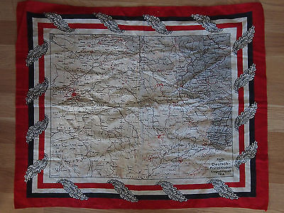 Patriotisches Stofftuch - WK I Karte 1914 - Krieg Deutsches Reich / Frankreich