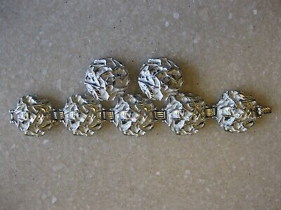 Powder Puff Earrings - SARAH COVENTRY Silver Tone Chunky Bracelet & Clip Earrings / Powder Puff 1961
