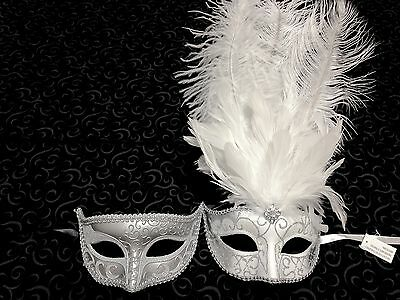 Couple Venetian Silver White Feather and Glitter Wedding Masqurade Prom Mask
