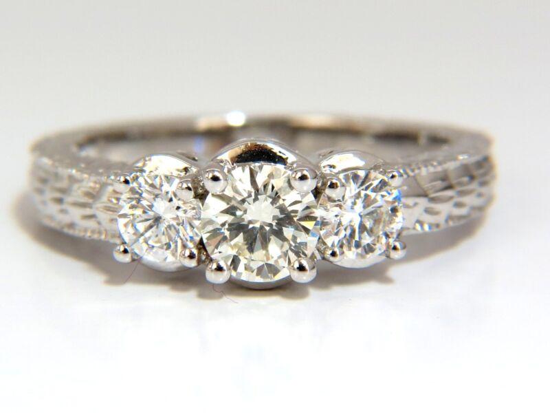█$7200 1.09CT NATURAL ROUND BRILLIANT DIAMOND RING CLASSIC THREE ENGAGEMENT