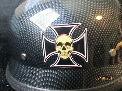 Black Carbon Spiked Helmet with Skull decals