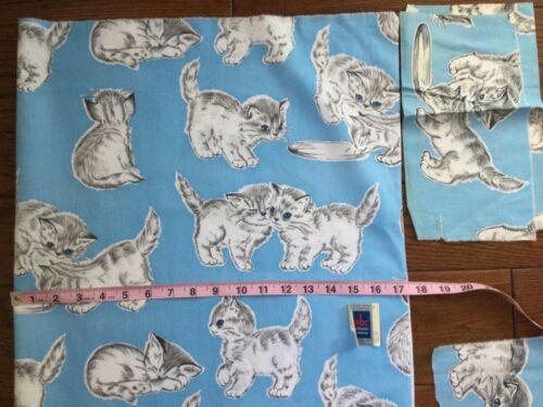 Vintage Cotton Fabric Nursery Kittens 1940-50 Blue 35Wx87L Quilt Decor ADORABLE