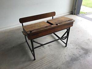 Old Wooden School Desk Heatherton Kingston Area Preview
