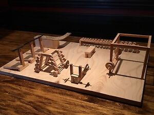Mini gym made out of wood