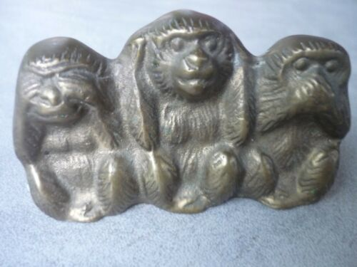 Vintage Small Brass Speak/See/Hear No Evil Monkey Figurine Paperweight