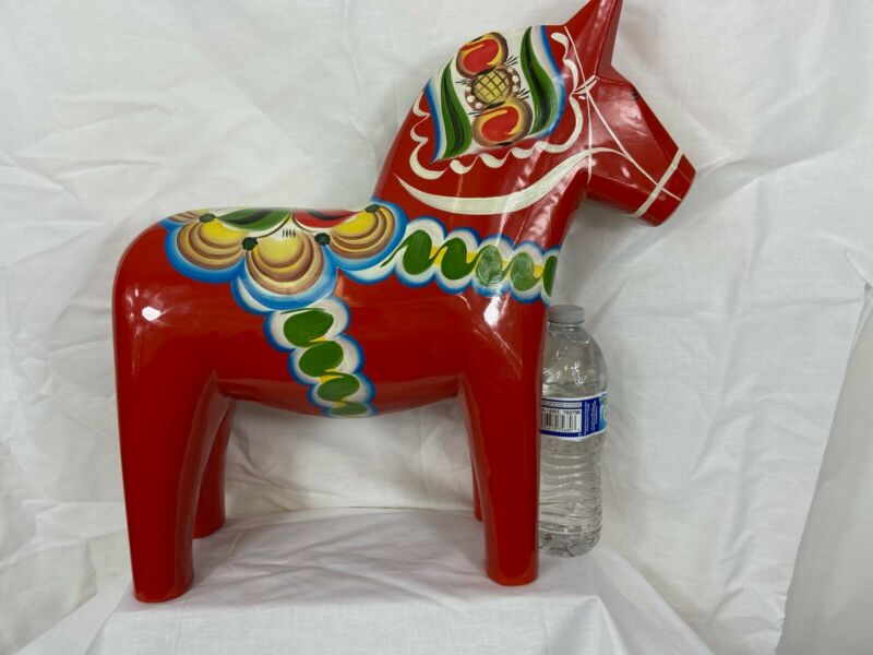 "New Grannas A.Olson's Swedish hand painted wood large Dala Horse 42 cm 16.5""tall"