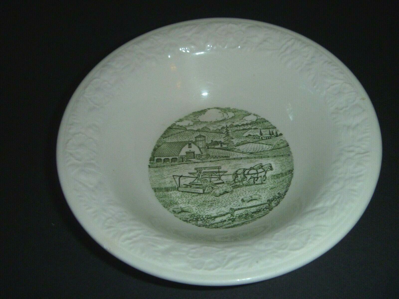 VINTAGE - TAYLOR, SMITH TAYLOR - PASTORAL - FARM HARVEST EMBOSSED GREEN BOWL - $1.99