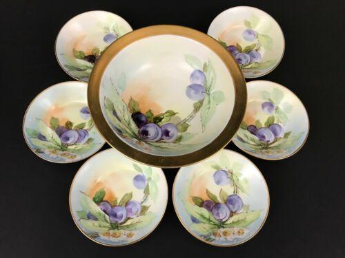 O&EG Royal Austria Berries Floral Serving Bowl w 6 Berry Bowls Set Artist Signed