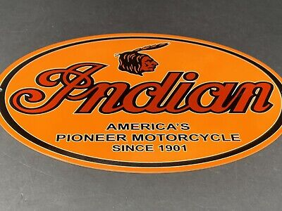 VINTAGE INDIAN MOTRCYCLE COMPANY AMERICA'S PIONEER SINCE 1901 METAL GAS OIL SIGN