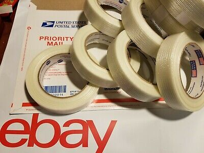 7 Rolls 1 X 60 Yds Fiberglass Reinforced Filament Strapping Packing Tape Clear