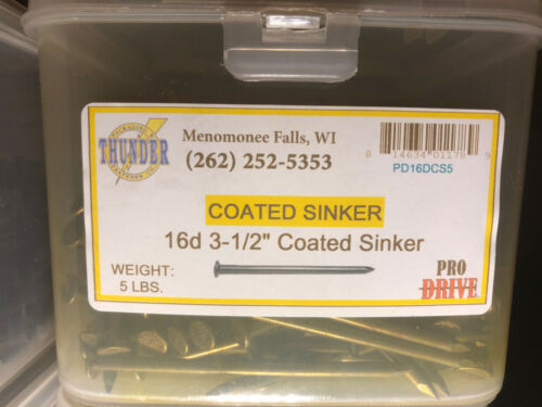 "Grip-Rite/ProDrive PD16DCS5 16D 3-1/2"" Coated Sinker Nails 5lbs"