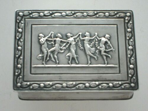 nice French Silver Pill Box Snuff Powder Compact Dancing Muses