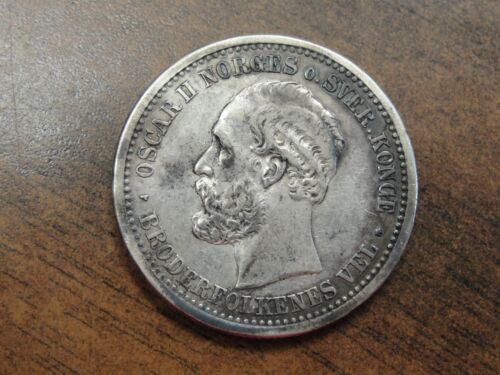 1877 Norway 1 Krone Silver KM #357