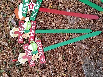 Lot of 5 New Christmas yard signs Christmas outdoor yard posts Christmas posts](Christmas Yard Signs)