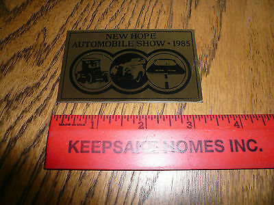 1985 New Hope Automobile Show Car Show Metal Dash Plate