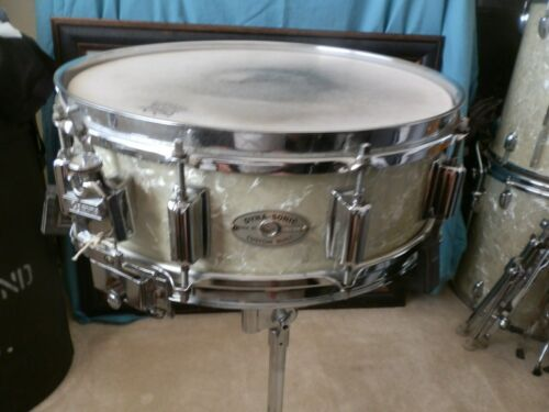 ROGERS WMP WOOD DYNASONIC SNARE DRUM GORGEOUS WHITE MARINE PEARL BEAVER TAIL