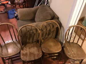 Rustic, antique farmhouse chairs