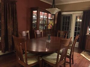 Hutch and dining table - cherry wood