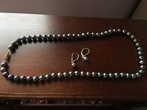 Imperial Freshwater Black Pearl Necklace WITH matching earrings