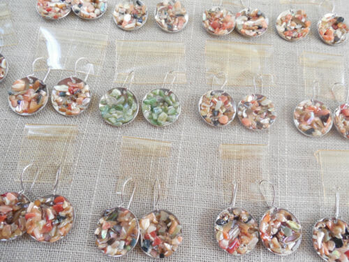 Vintage NOS lot of 13 prs stainless 70s mop abalone agate drop pcd earrings D18