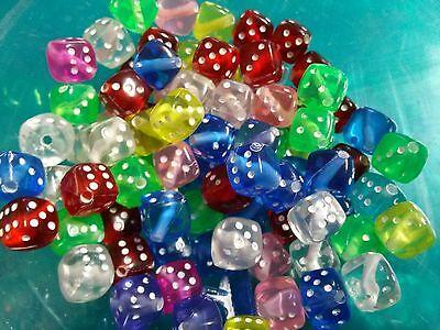 50 Dice Beads Acrylic Cube Wholesale BULK Assorted Lot (Dice Beads)