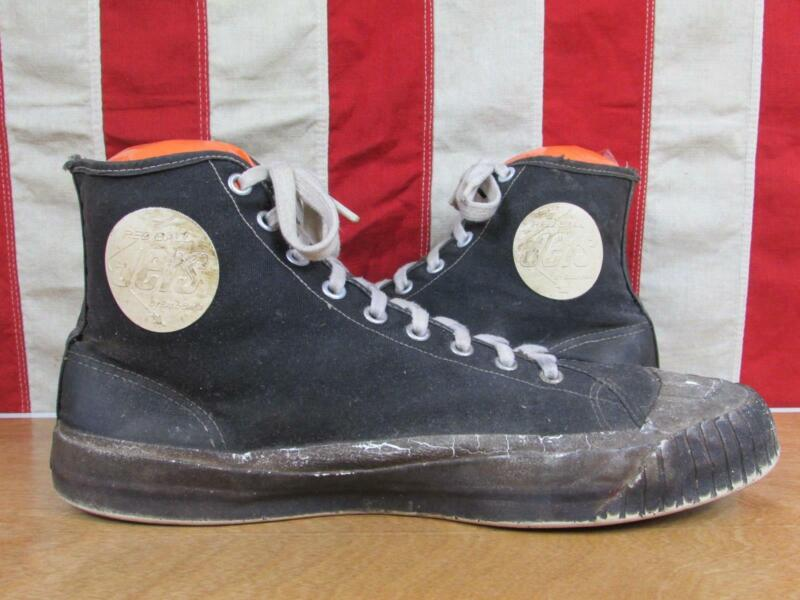 Vintage 1940s Ball Band Jets Black Canvas Basketball Sneakers Athletic Shoes 10