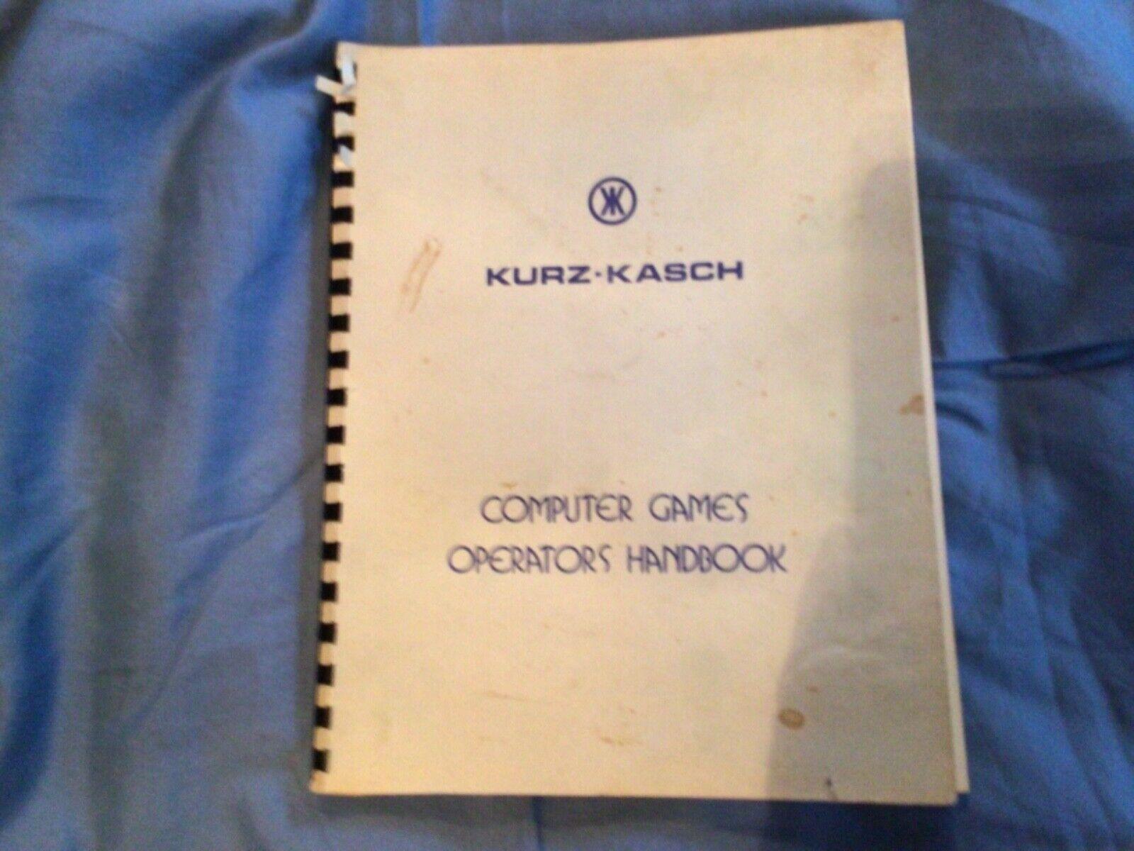 Computer Games - KURZ- KASCH COMPUTER GAMES OPERATORS HANDBOOK RARE MANUAL