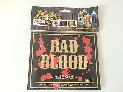 4 Halloween Liter Bottle Labels Haunted House Wine Cats Prowl Bad Blood Mixer - Blood Label Halloween