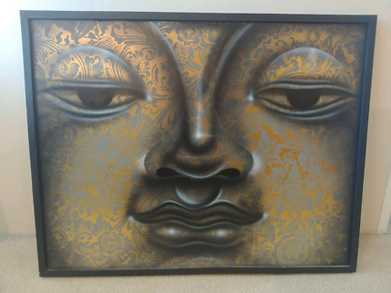 Buddha gold and balck framed painting