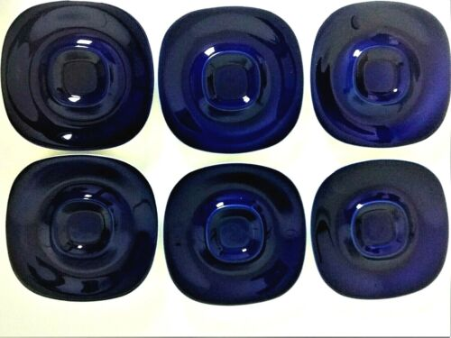 Set Of 6 BLOCK Langenthal Switzerland Transition Cobalt Blue Saucers