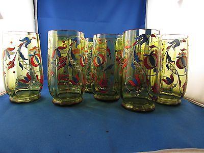 Raro 12 Bicchieri Cristallo Smaltato E Colorato A Aranciata Numerate C. Ca Fiore