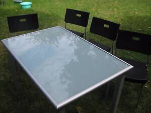Dining Table Set -Metal With Frosted Glass/4 Chairs - Rock Solid Brunswick East Moreland Area Preview