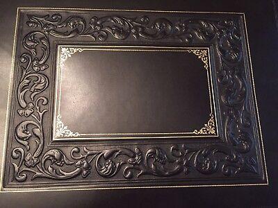 Luxury Bontrupe Carved Genuine Leather 24k Gold Gilded Flip Top Desk Blotter Pad