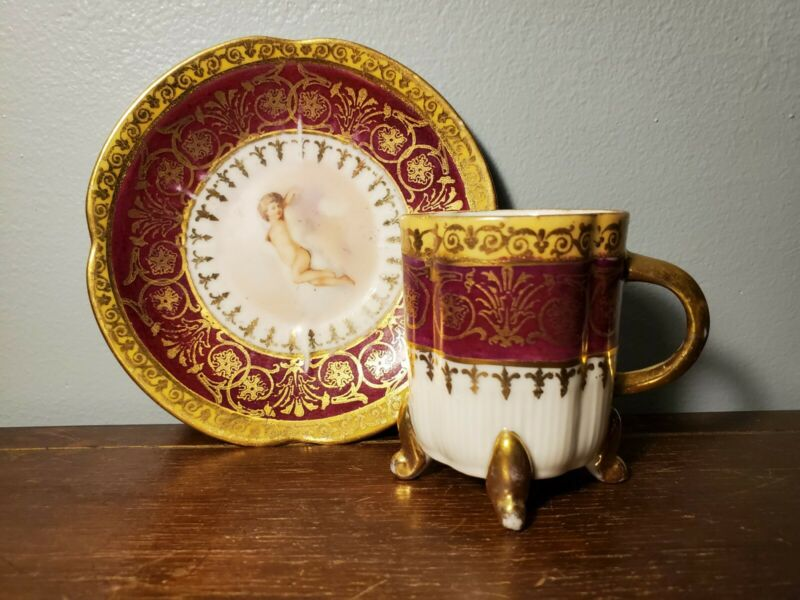 Hand Painted Victoria Carlsbad Austria Red Gold White Demitasse Cup & Saucer