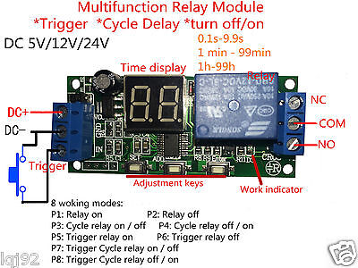 Dc12v 24v Led Display Infinite Cycle Delay Timer Relay Switch Turn Onoff Module