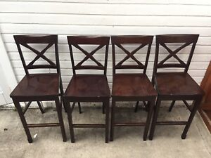 4 wood barstools / chairs