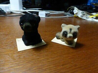 Set of 2 Flocked Josef Original George Good Animal Figurines Black Bear Raccoon